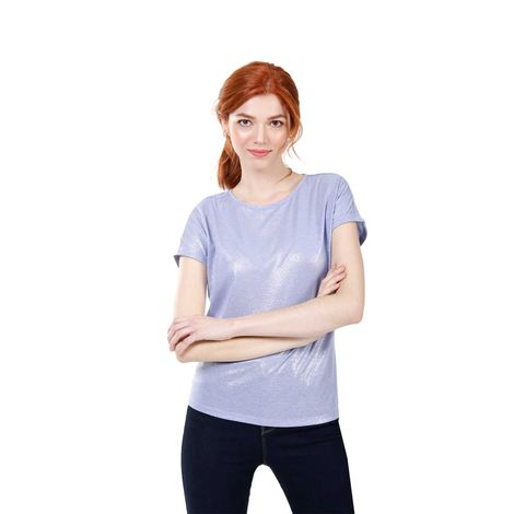 Camiseta-Para-Mujer-Color-Azul-Unicolor-Tianzi